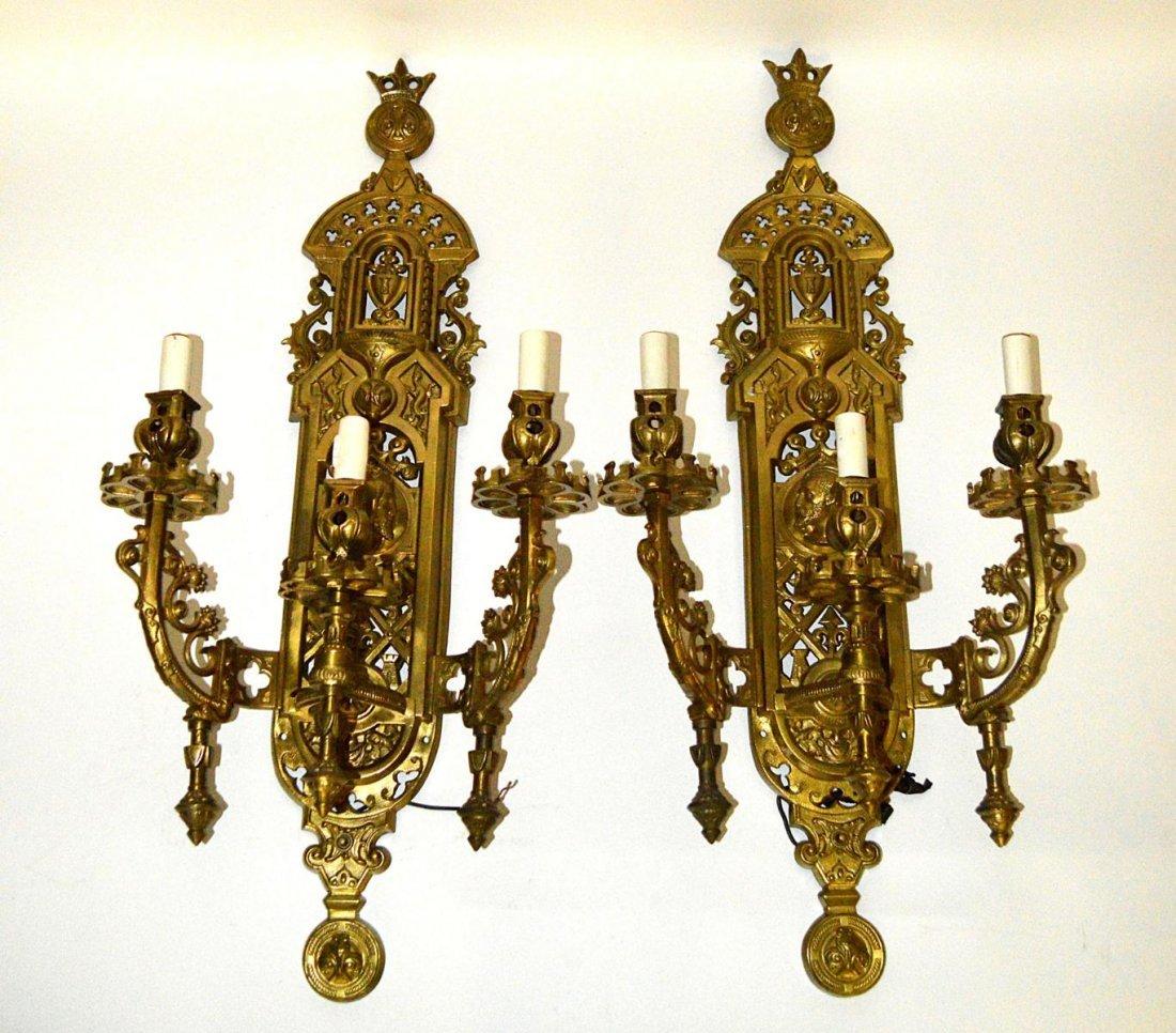 136: Pair of Gothic Three Light Sconces