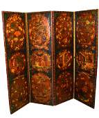 298 Chinoiserie Painted Leather Floor Screen