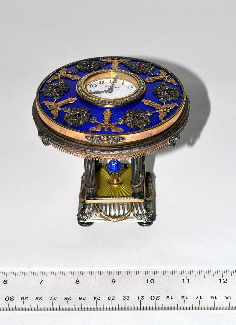 433: After Fabergé Gold & Silver Guilloche Table Clock
