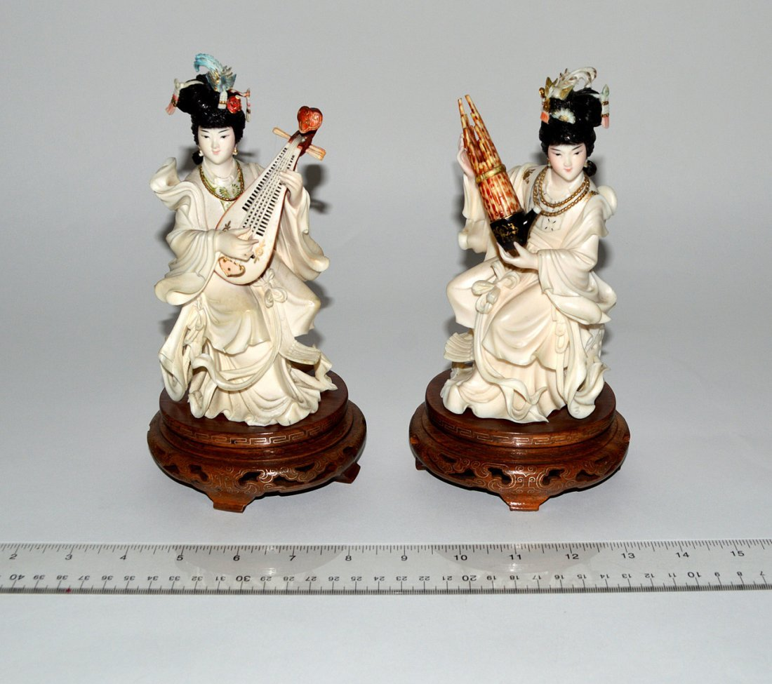 353: Pair of Chinese Carved Ivory Figures