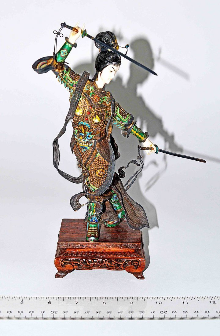 127: Asian Cloisonne and Ivory Female Warrior
