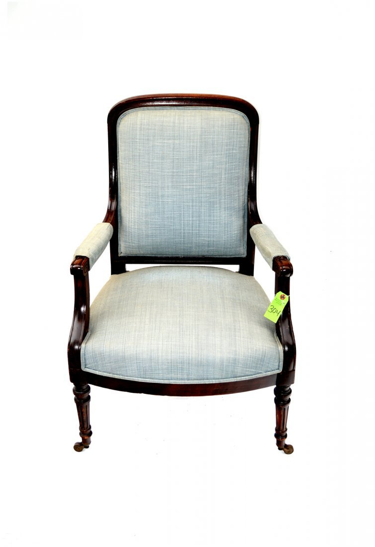6: English Blue Upholstered Chair