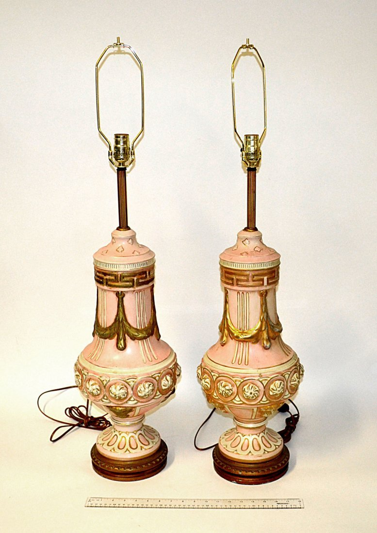 14: Pair of Porcelain Urn-Form Table Lamps