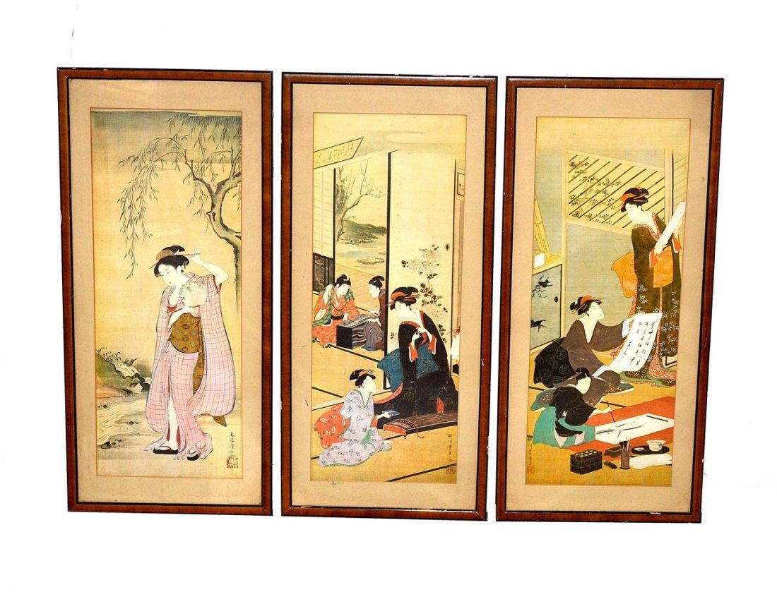 12: Three Reproduction Ukiyoe Prints