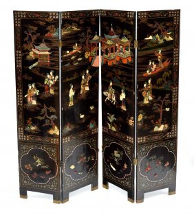 23: Chinese Lacq. & Carved Hardstone 4 Panel Screen