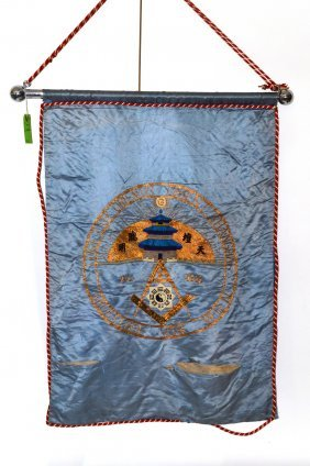 18: Unusual Embroidered Silk Masonic Banner