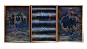 "19: Radovan Djuric ""Lale"" Encaustic on Paper Triptych"