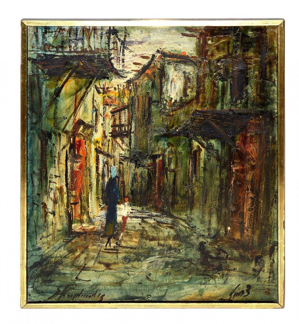 447: Zvi Raphaeli, Oil on Canvas - Village Scene