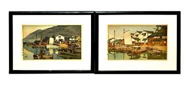 1 Pair of Woodblock Harbor Scenes