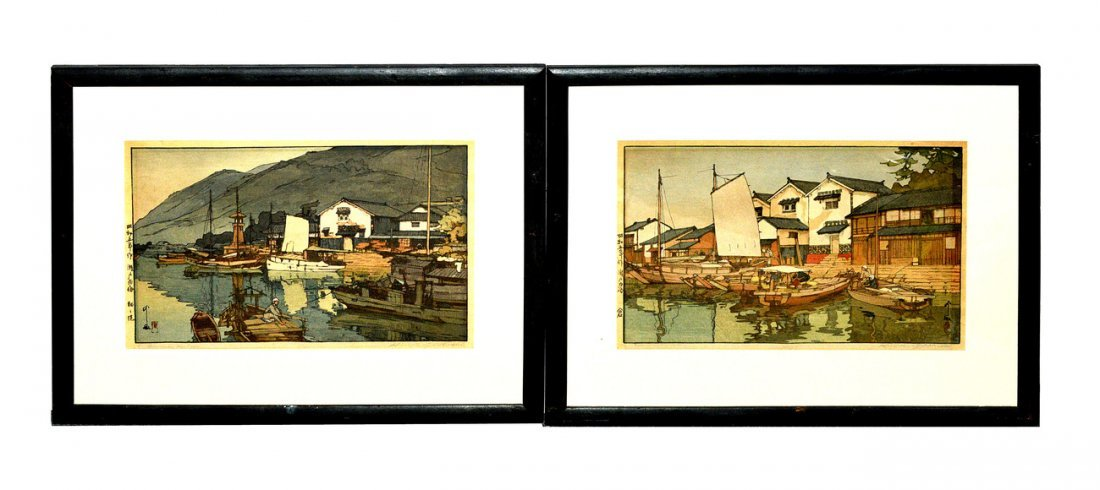 1: Pair of Woodblock Harbor Scenes