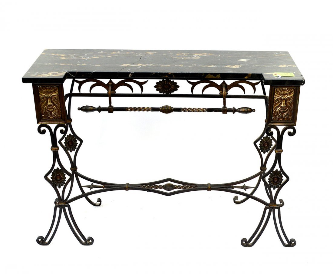 7: Wrought Iron Marble Top Console