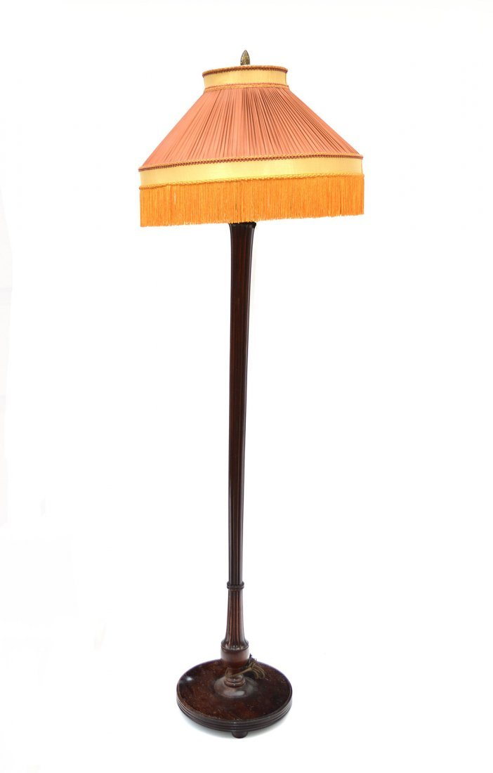 8: Reeded Mahogany Floor Lamp