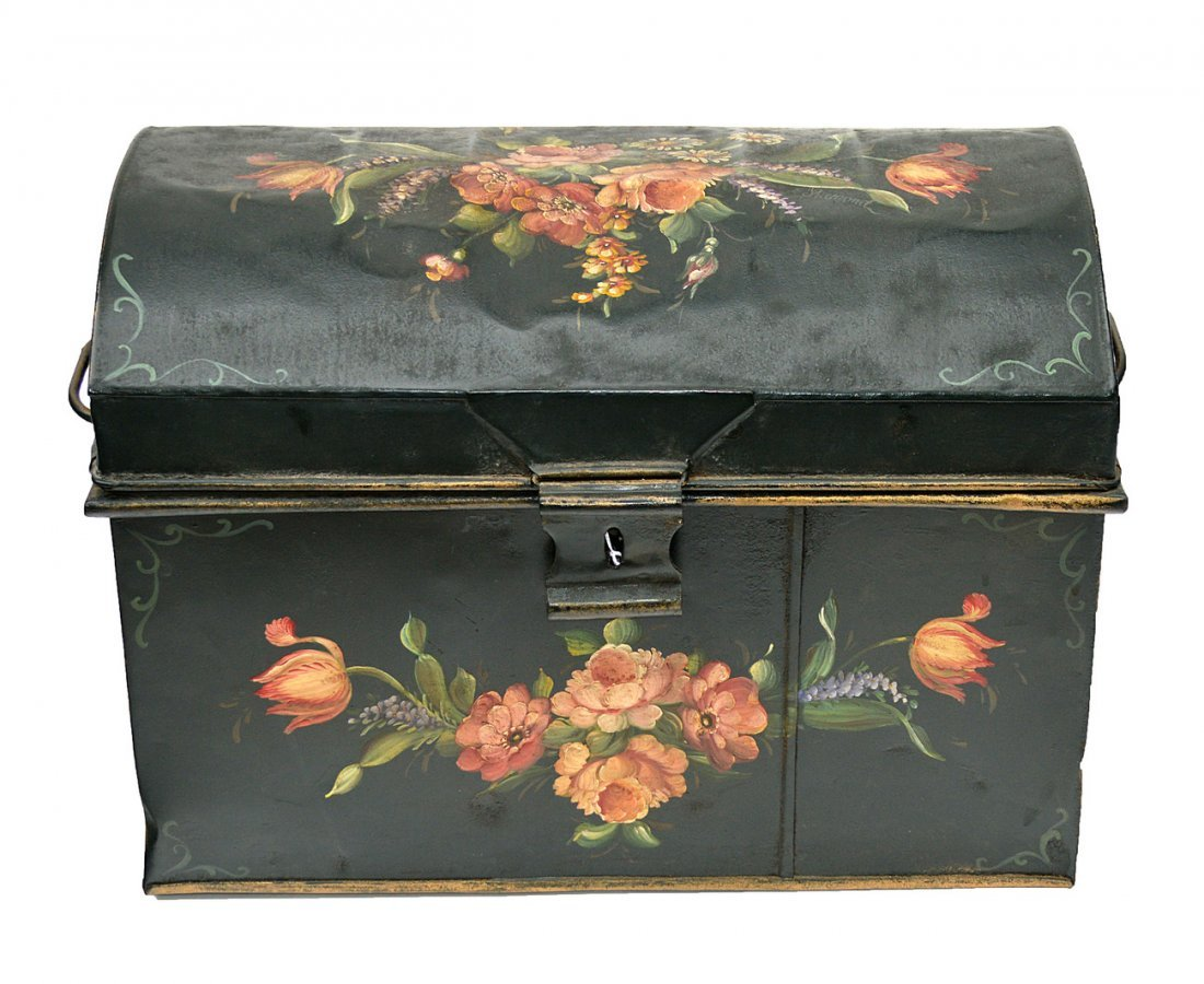 9: Floral Painted Tole Chest