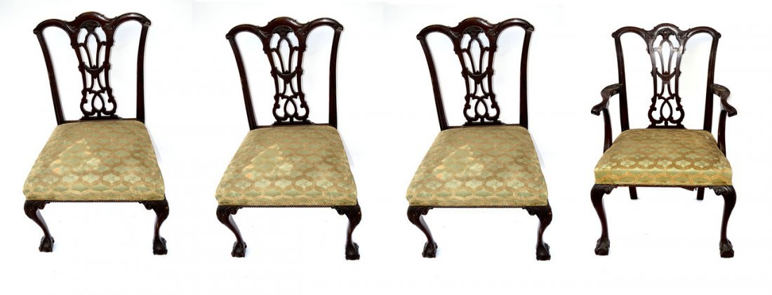 14: Set of Four Chippendale Style Chairs