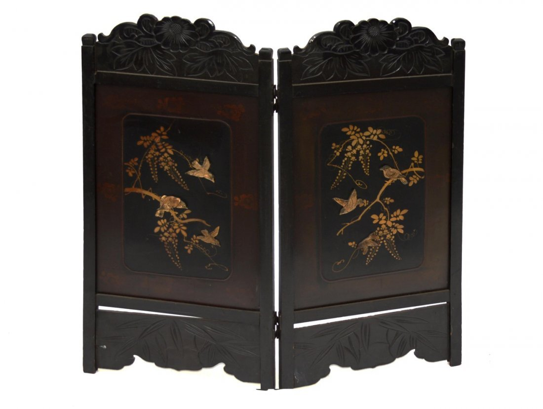 "15: Asian Lacquered ""Songbird"" Screen"