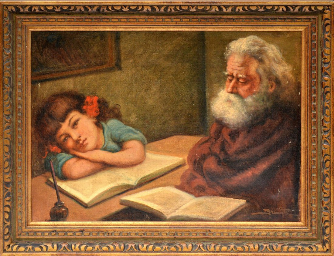 152: Oil on Canvas, Child and Grandfather