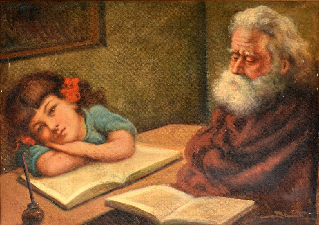 152: Oil on Canvas, Child and Grandfather - 2