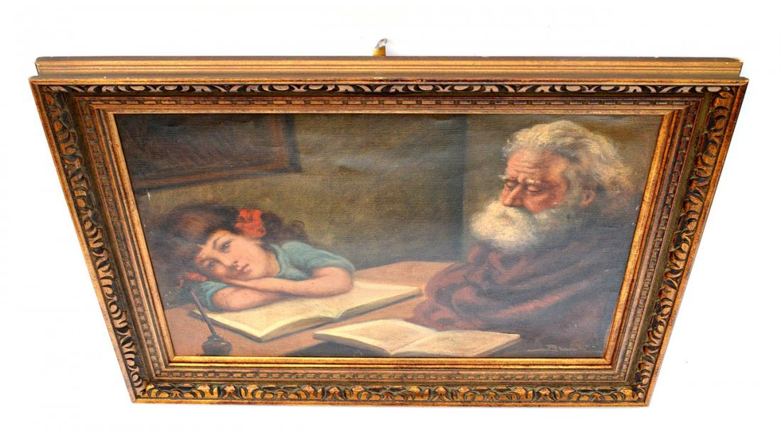 152: Oil on Canvas, Child and Grandfather - 3