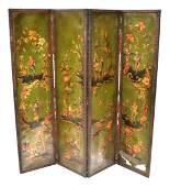 380 Painted Leather Four Panel Screen