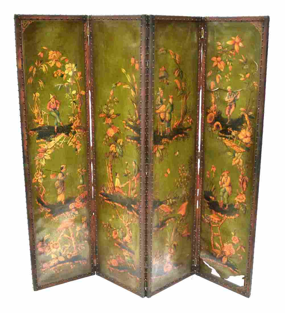 380: Painted Leather Four Panel Screen