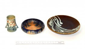 8: Two Pottery Bowls, One Vase