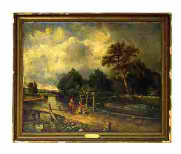 102: After John Constable Oil on Canvas - Dedham Sussex