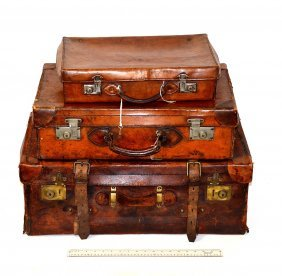 Three Vintage Leather Luggage Articles