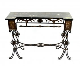 Iron And Marble Top Console