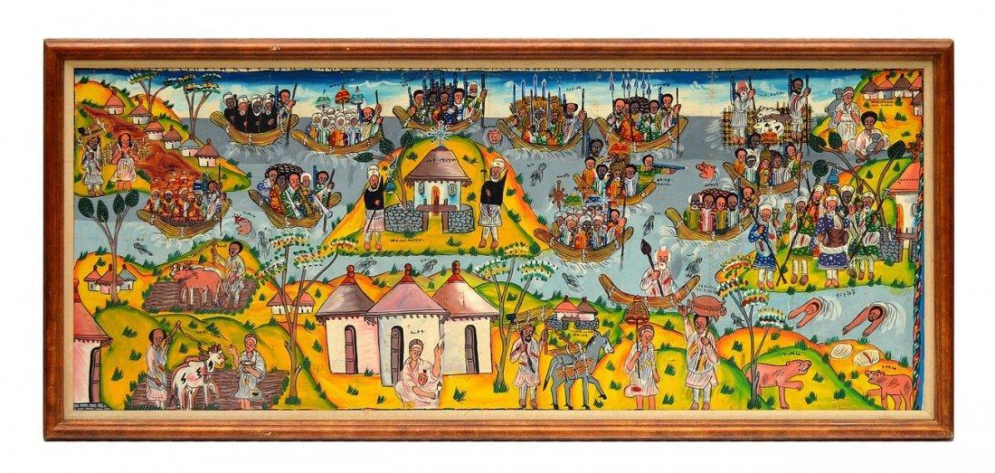 22: Oil on Canvas, Village Scene
