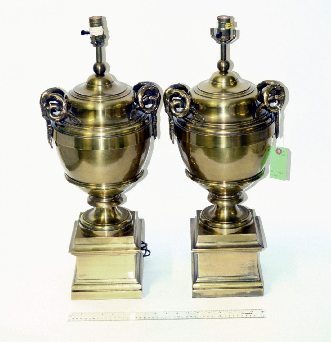 2: Pr. of Brass Neo-Classical Urn-Form Table Lamps