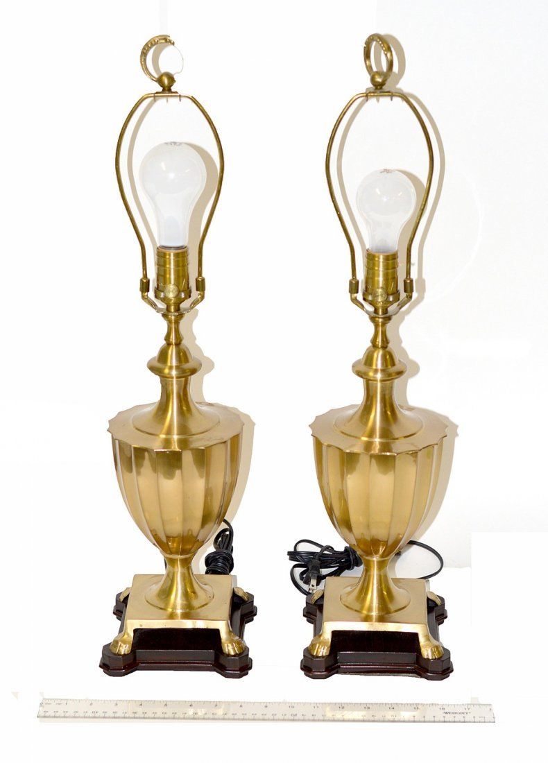 3: Pr. of Brass Fluted Urn-Form Table Lamps