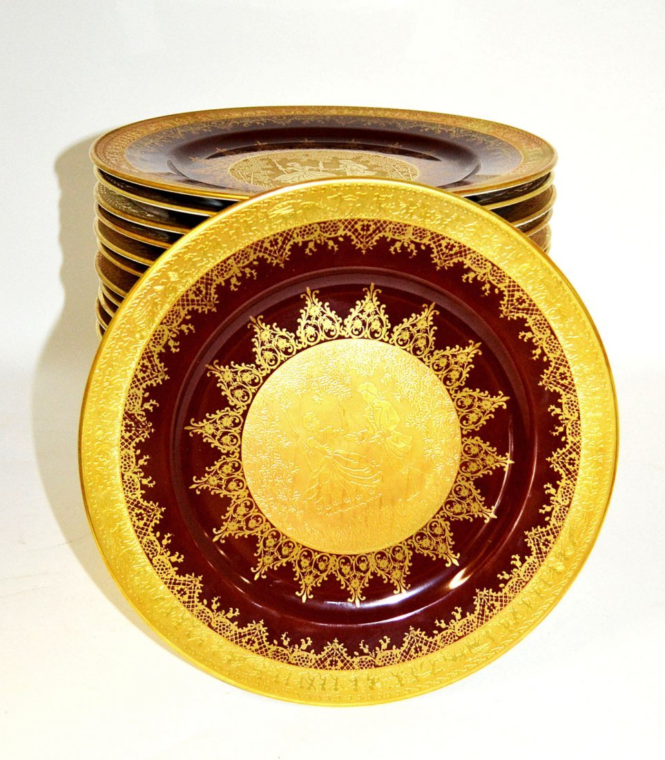 6: Set of 24 Josef Kuba Werkstatte Porcelain Plates