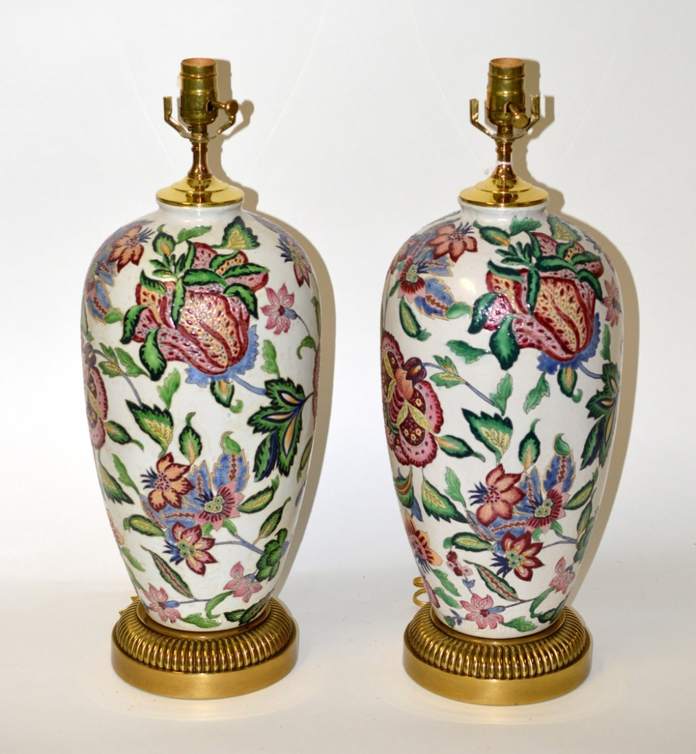 16: Pair of Floral Decorated Lamps