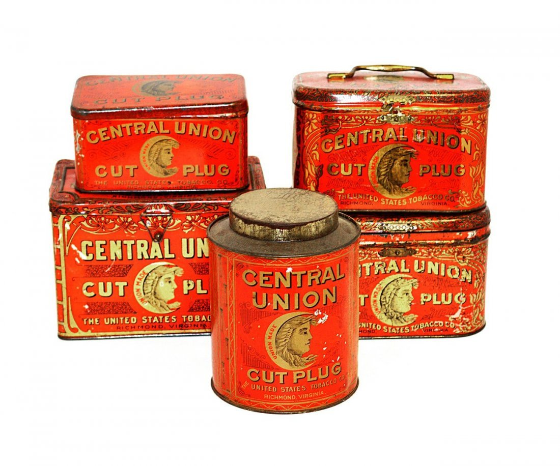 9: Five Central Union Tobacco Tins