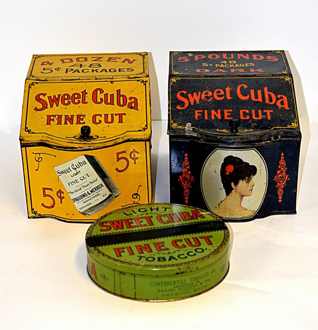 11: Two Sweet Cuba Tobacco Tin Store Bins and Other