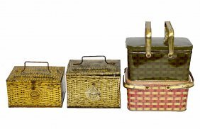 12: Four Lunch Pail-Type Tobacco Tins - Faux Wicker
