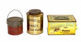 18: Three J. Wright Co.'s Winner Tobacco Tins