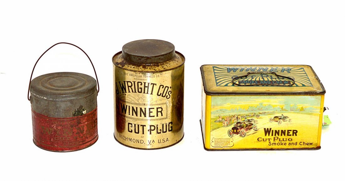 18: Three J. Wright Co.'s Winner Tobacco Tins