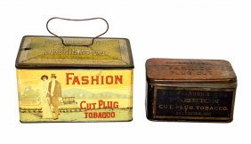 Two Fashion Cut Plug Tobacco Tins