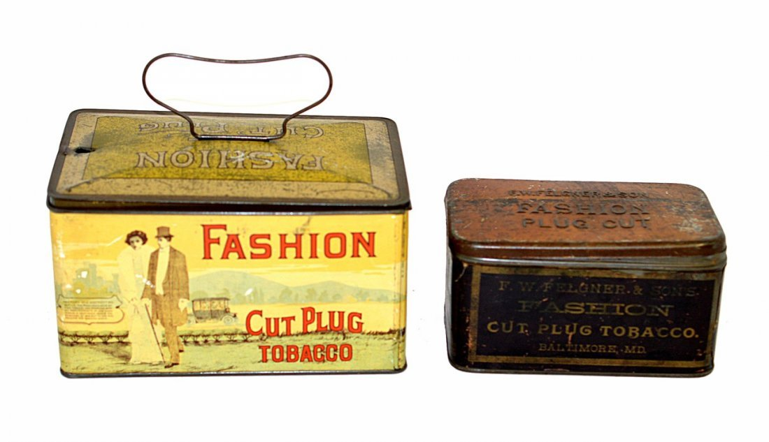 19: Two Fashion Cut Plug Tobacco Tins