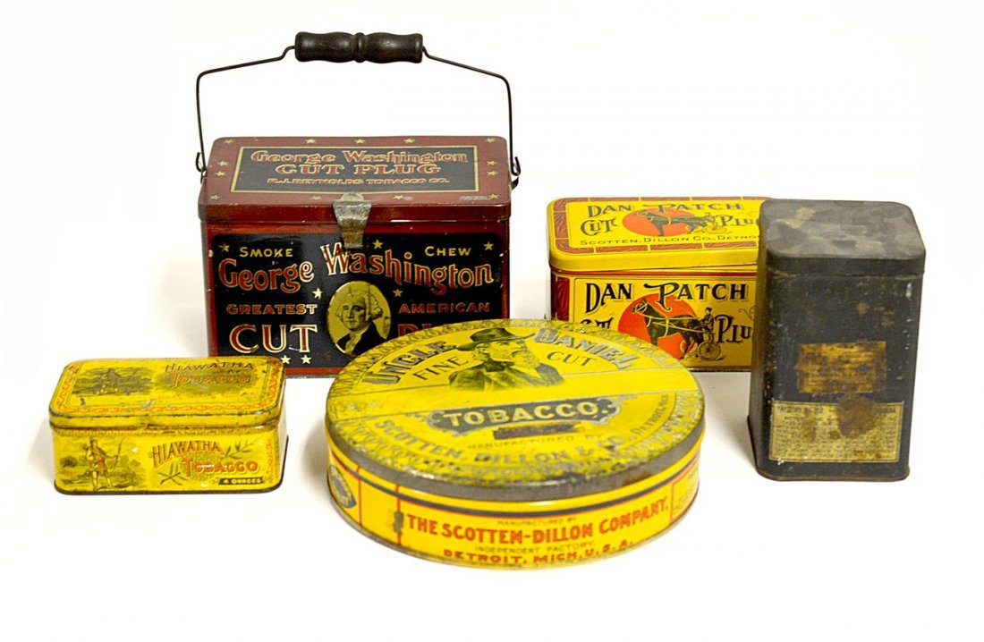 21: Five Assorted Tobacco Tins