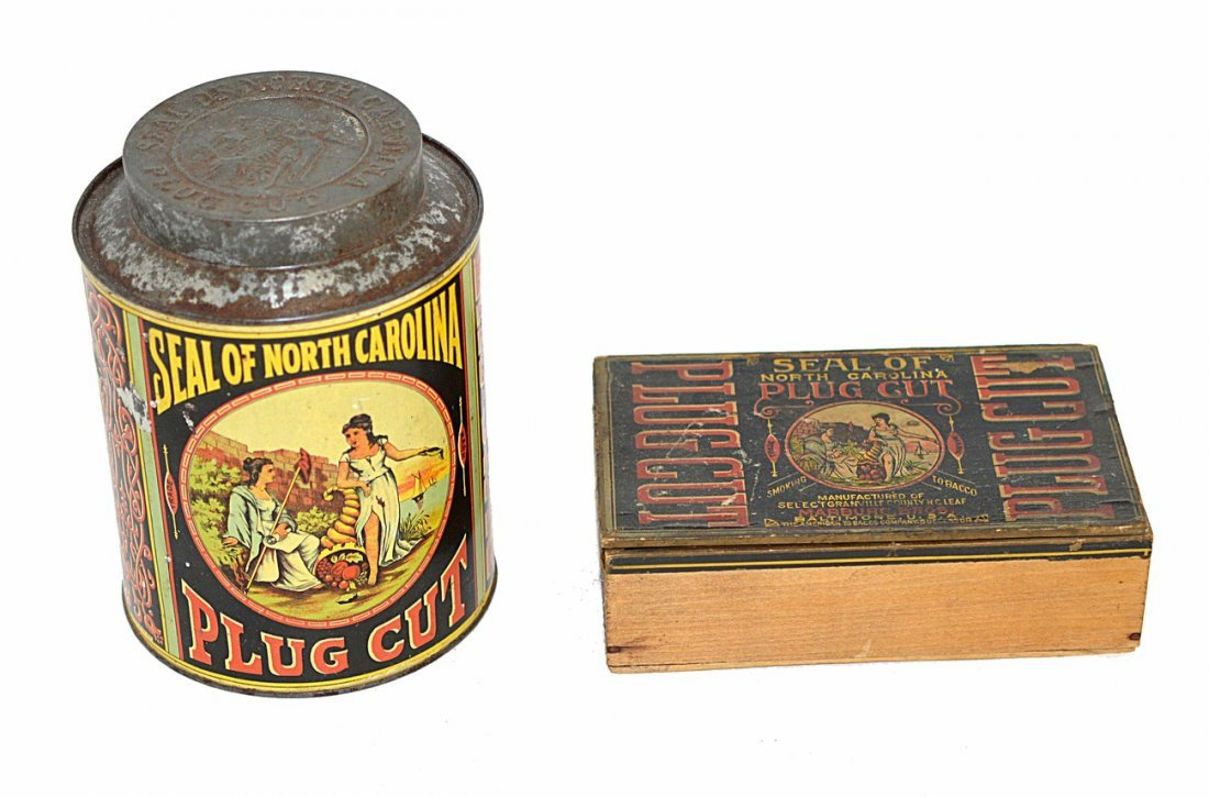 22: Seal of North Carolina Plug Cut Tobacco Tin & Box