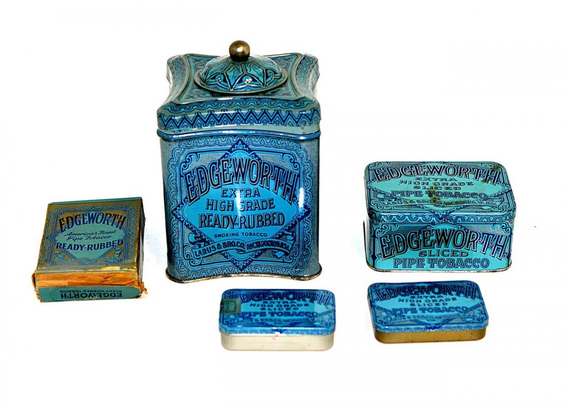 8: Five Edgeworth Tobacco Tins and Box
