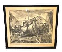 Framed Charcoal Abstract Nude, NO PHOTO