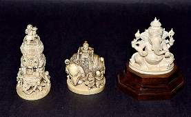 Three Far Eastern and Asian Carved Ivory Articles