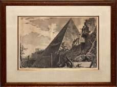 """After Piranesi, Engraving - """"Piramide..."""""""