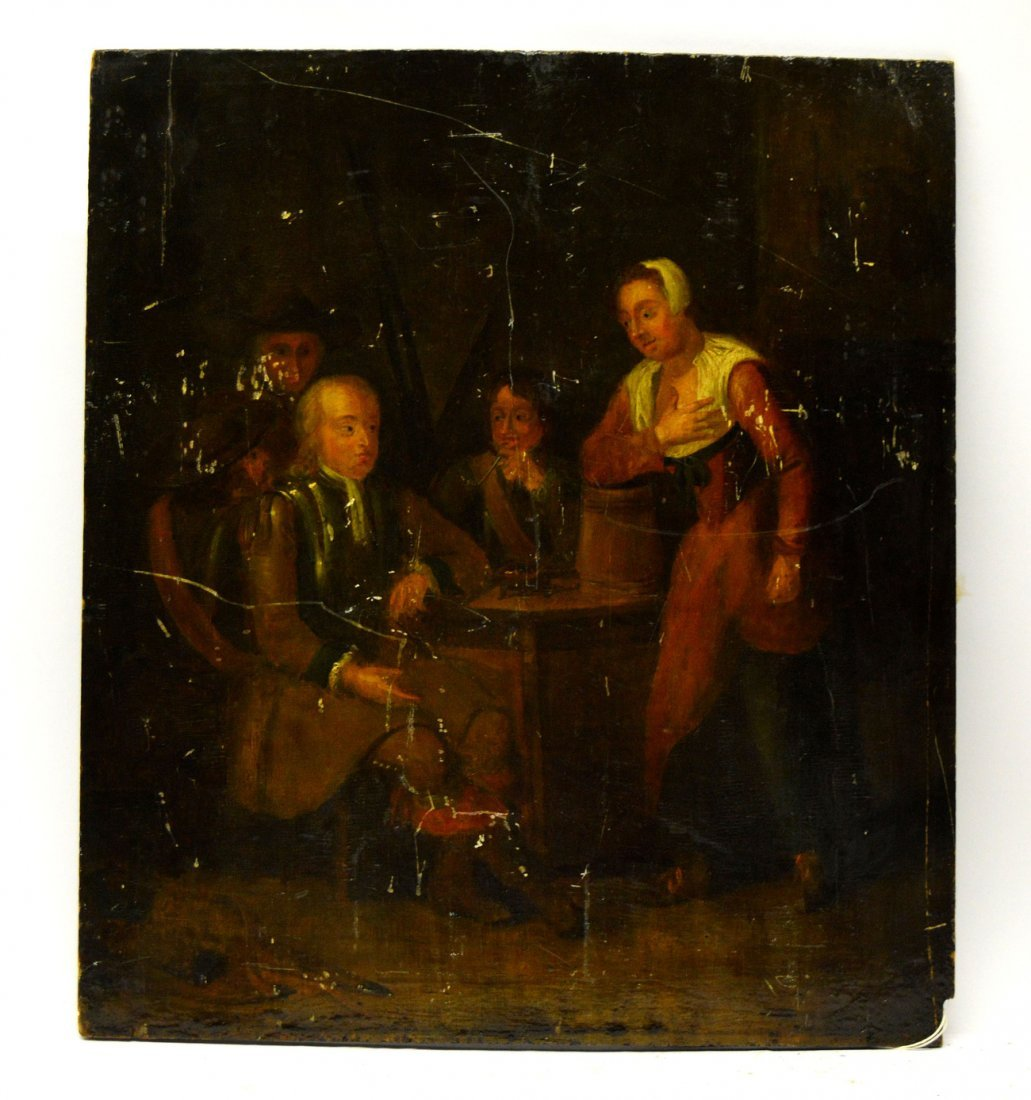 17th C. Continental OIl on Panel - Tavern Scene