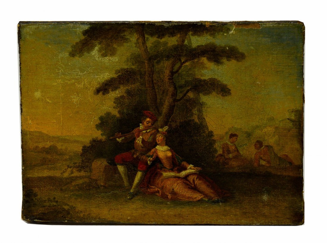 18th C. Italian Oil on Canvas, Courting Scene