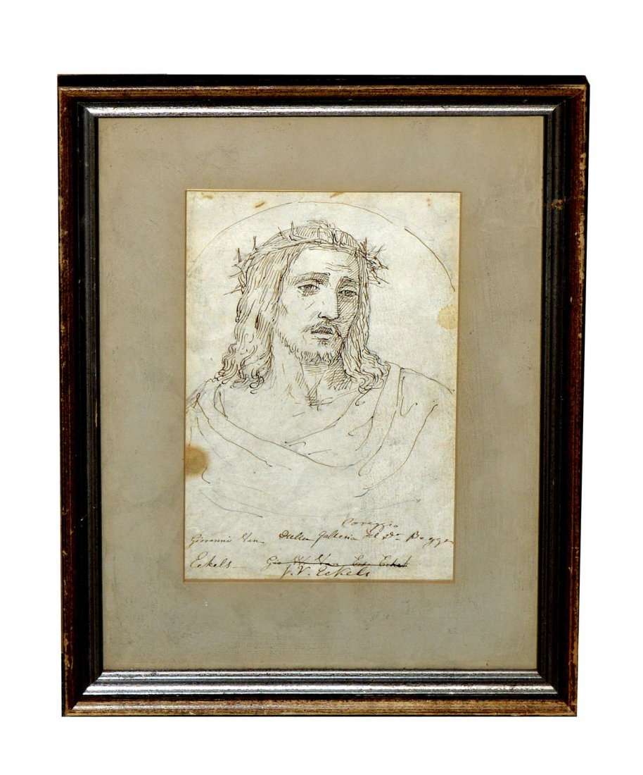 After Giovanni Van  Eckels, Pen & Ink - Christ