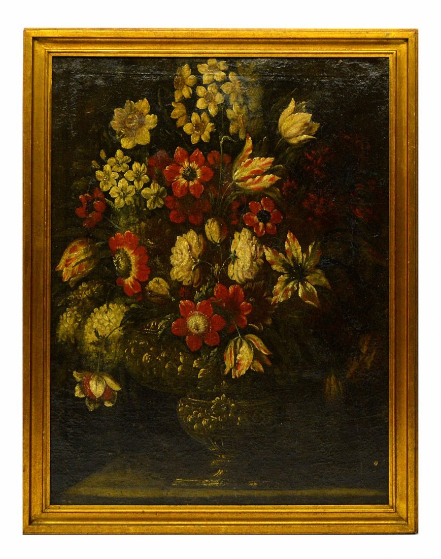 Antique Oil on Canvas - Still Life with Tulips